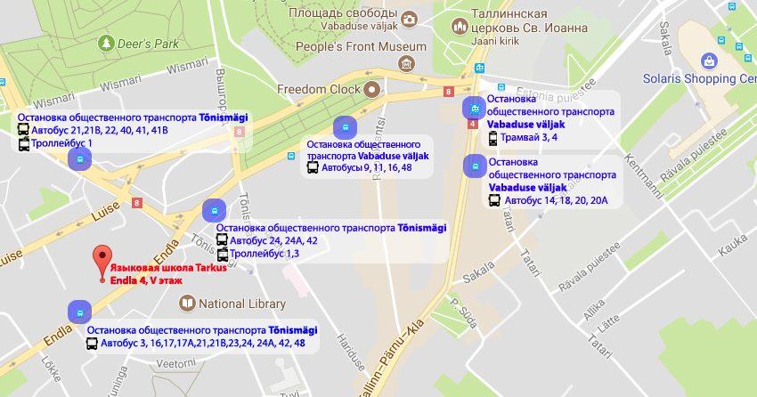 Карта Tarkus Общественный транспорт